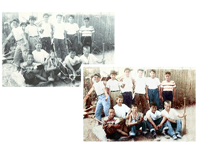 Restoration & colorisation - boys and baseball