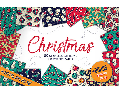 Christmas and new year seamless pattern wallpaper