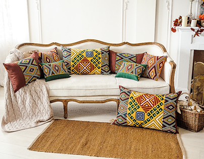 Decorative embroidered cushions English collection