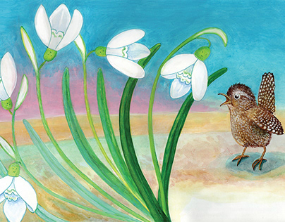 The snowdrop and the wren summon the spring