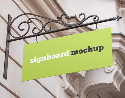 2 Free Rectangular Shop Signboard Mockups