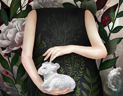 """""""Kind"""", mixed media digital art, woman portrait drawing"""