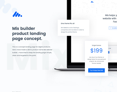 Mix - Product Landing Page Concept