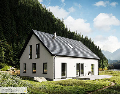 Scandinavian house 3d renderings