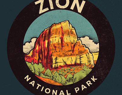 Retro Zion National Park Poster