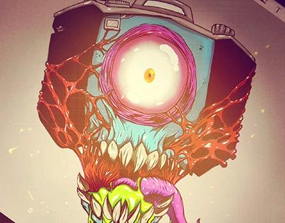 Monster camera tattoo design