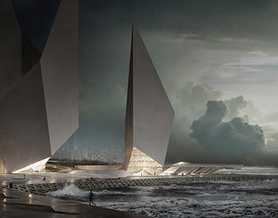 3D Skyscrapers Architectural Rendering