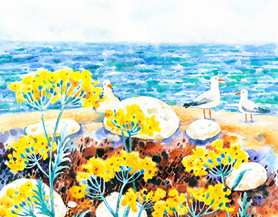 Yellow Flower on Sea
