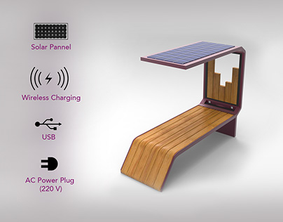 Public Bench - Design integrating solar panel
