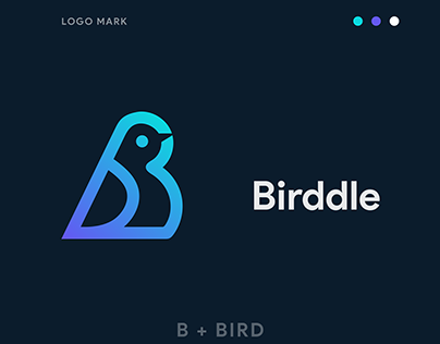 Birddle Logo Design. ( B Letter + Bird Icon)