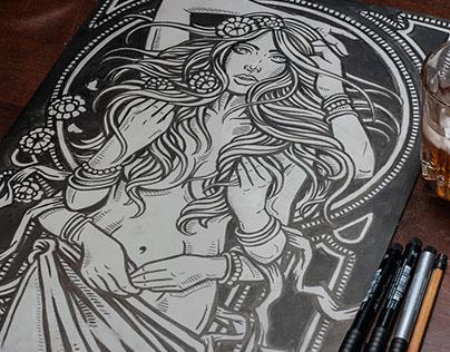 Dame Terres Electrique - Psychedelic Blend Block Print