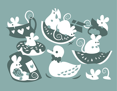 Cute mice illustration for wallpapers & postcards