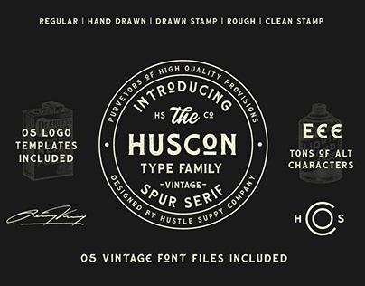 HUSCON - A Vintage Spur Serif Typeface