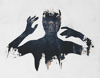 Double exposure abstract silhouettes