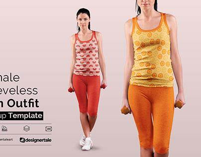 Female Sleeveless Gym Outfit Mockup