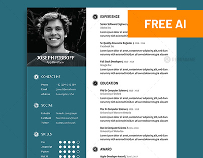 Free Resume Template With Business Card On Behance