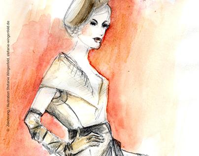 Fashion Drawing / Pencil + Watercolor