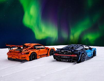 LEGO Bugatti Chiron & Porsche GT3 RS under Arctic Light