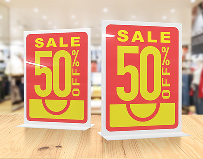 Acrylic Table Sign Discount Mockups