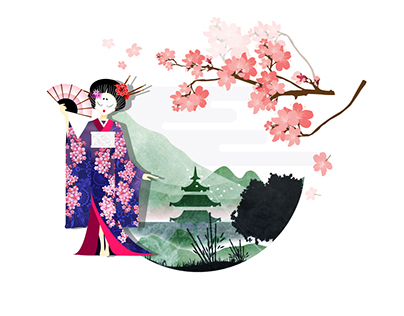 Asian style illustrations for Lucky Dragon