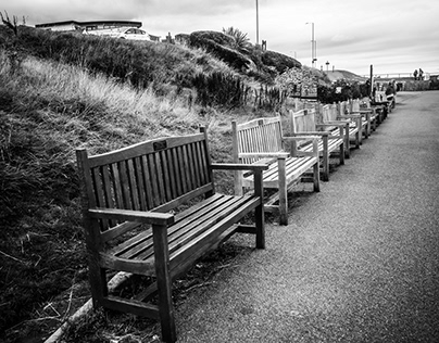 Church benches with a sea view