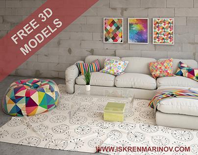 free 3d models sofa comp on behance - 3d Max Interior Design Models
