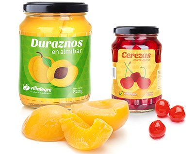 Villalegre (canned fruit company) package design