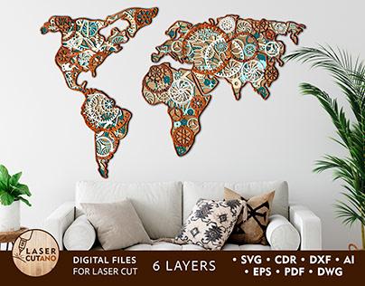 Multilayer Cut File STEMPUNK MAP World Map