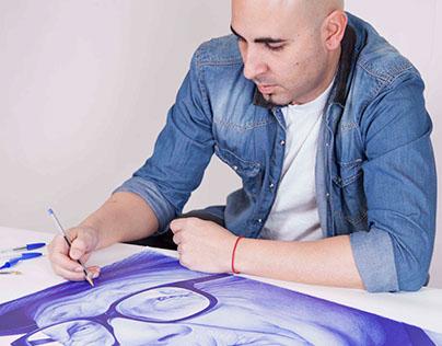 MiradAzul_ballpoint pen portraits