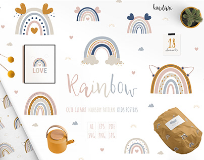 Boho Rainbow clipart & seamless pattern & digital paper
