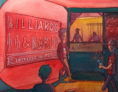 NYC Illustrations: Billiards & Bar