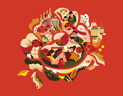 Digi's CNY Illustration Series-Red Packet & Store Deco