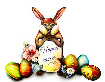 Happy easter bunny | Greeting card illustration