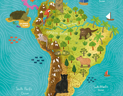 South America Map for Book