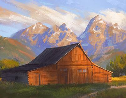 Painting Masterclass Demo Image - Barn at Sunset