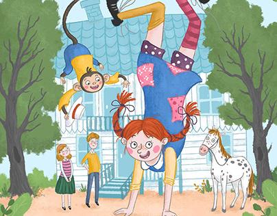 Illustrations for Pippi Longstocking Children's Book