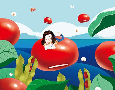 红豆薏米插画设计