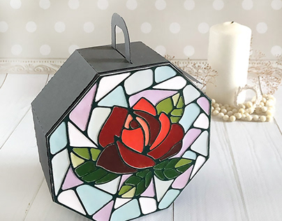 Gift Box with Stained Glass Rose Imitation