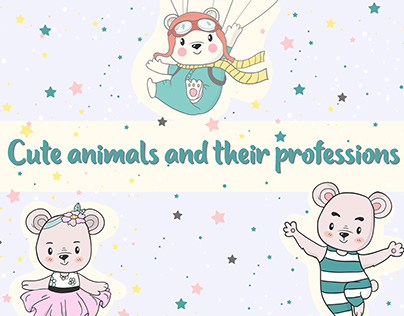"""Set of illustrations """" Cute animals and professions"""""""