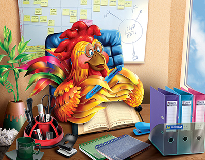"""The symbol of of the year, """"Rooster"""". Illustration for"""