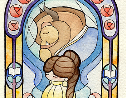 Watercolor Glass Beauty and The Beast