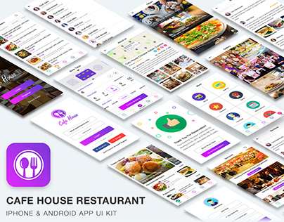 Cafe House Restaurant App UI Kit (Sketch & PSD)
