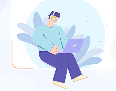 Me in Illustrations - Working and Listening to music