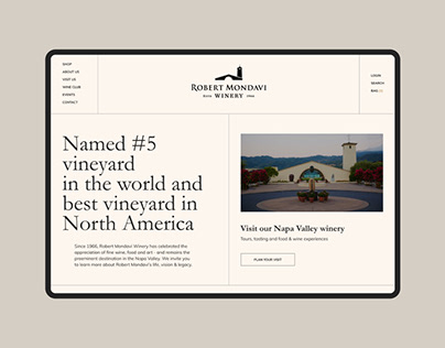 Robert Mondavi winery – Website redesign concept