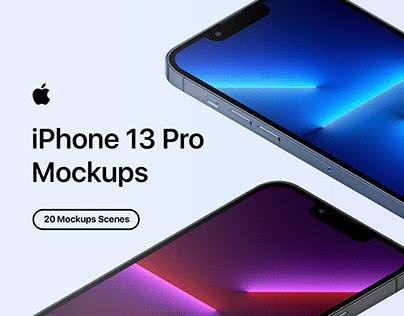 iPhone 13 Pro - 20 Mockups Scenes - PSD