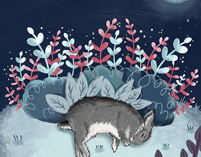 Midnight bunny illustration for my Etsy shop