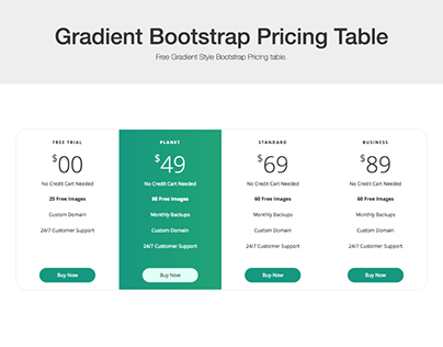 Gradient Bootstrap Pricing Table