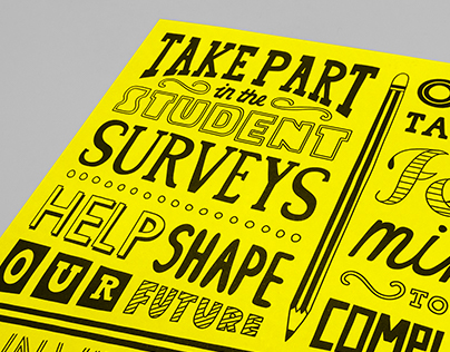 Hand drawn typography & vibrant colours for UCS Surveys