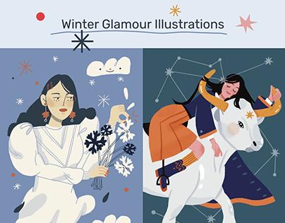 Glamour Russia Winter Illustrations