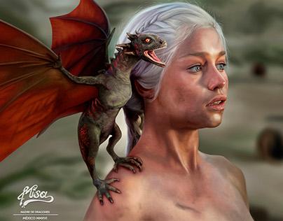 Daenerys Targaryen, Mother of Dragons Illustration